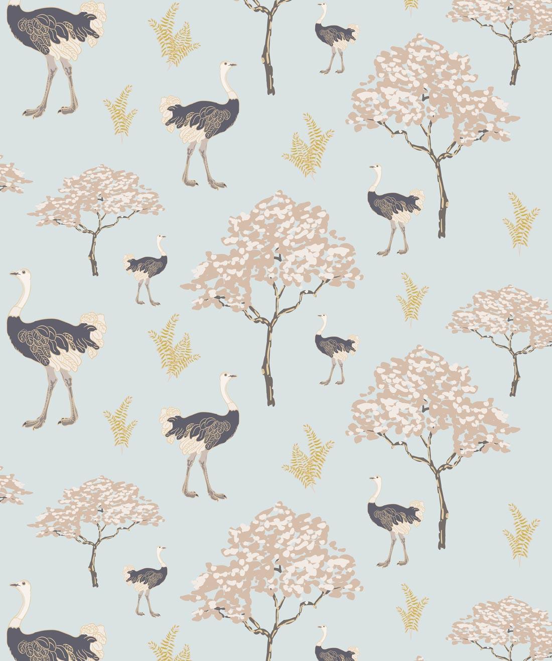 Savanna Ostrich Wallpaper