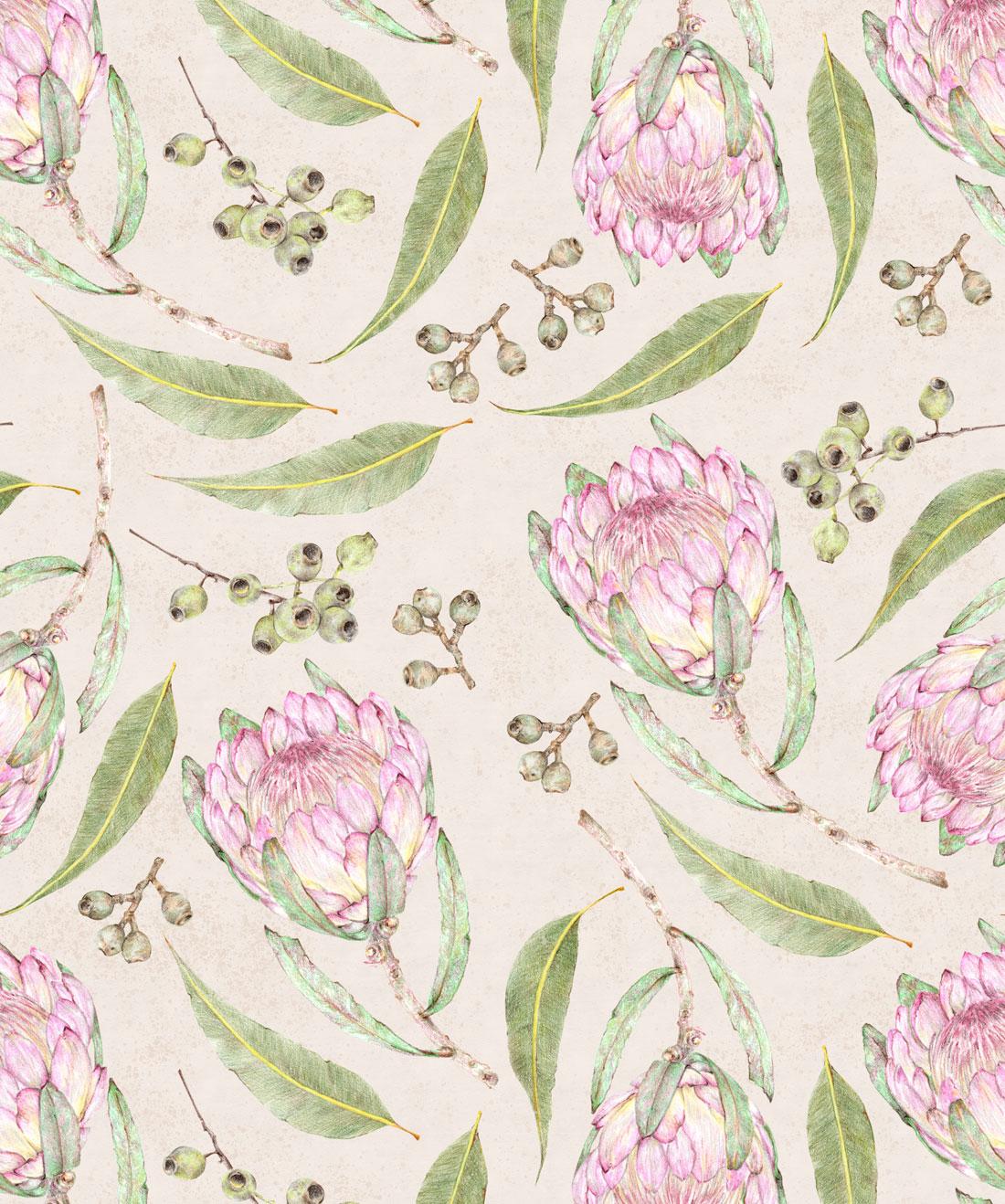 Proteas & Gumnuts Wallpaper