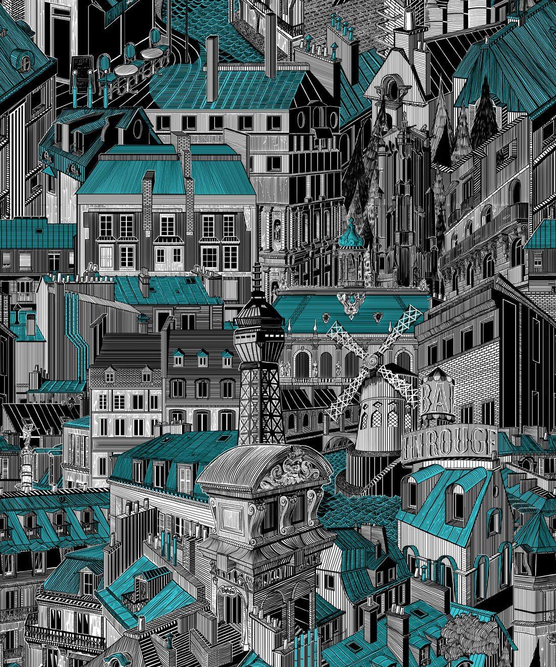 Paris Rooftops Blue