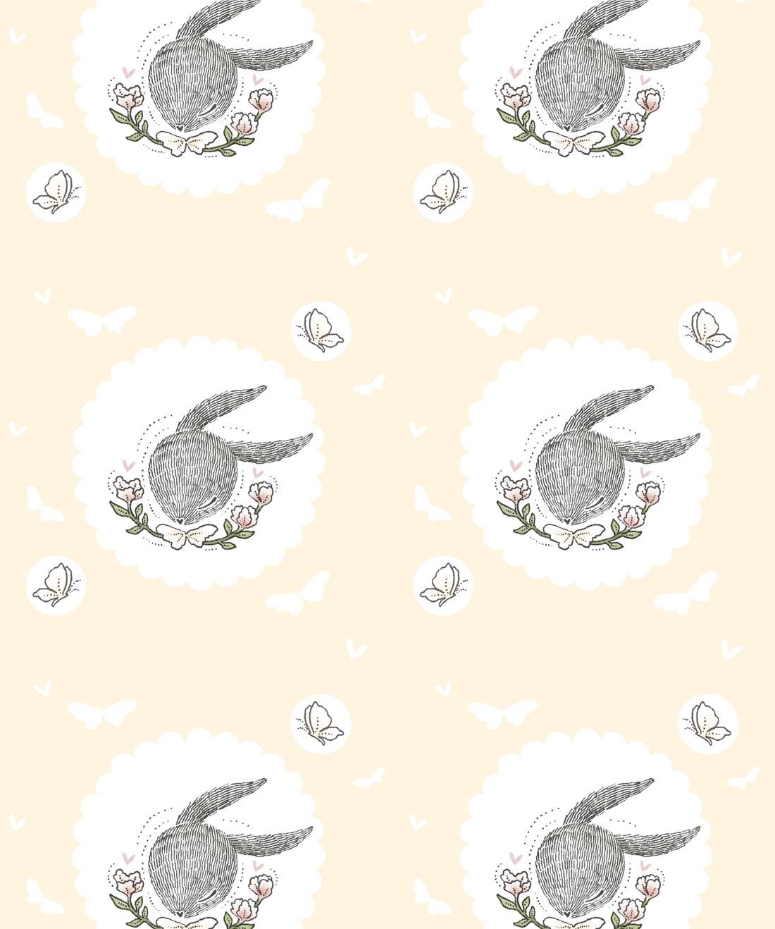 Rabbit & Butterfly Wallpaper
