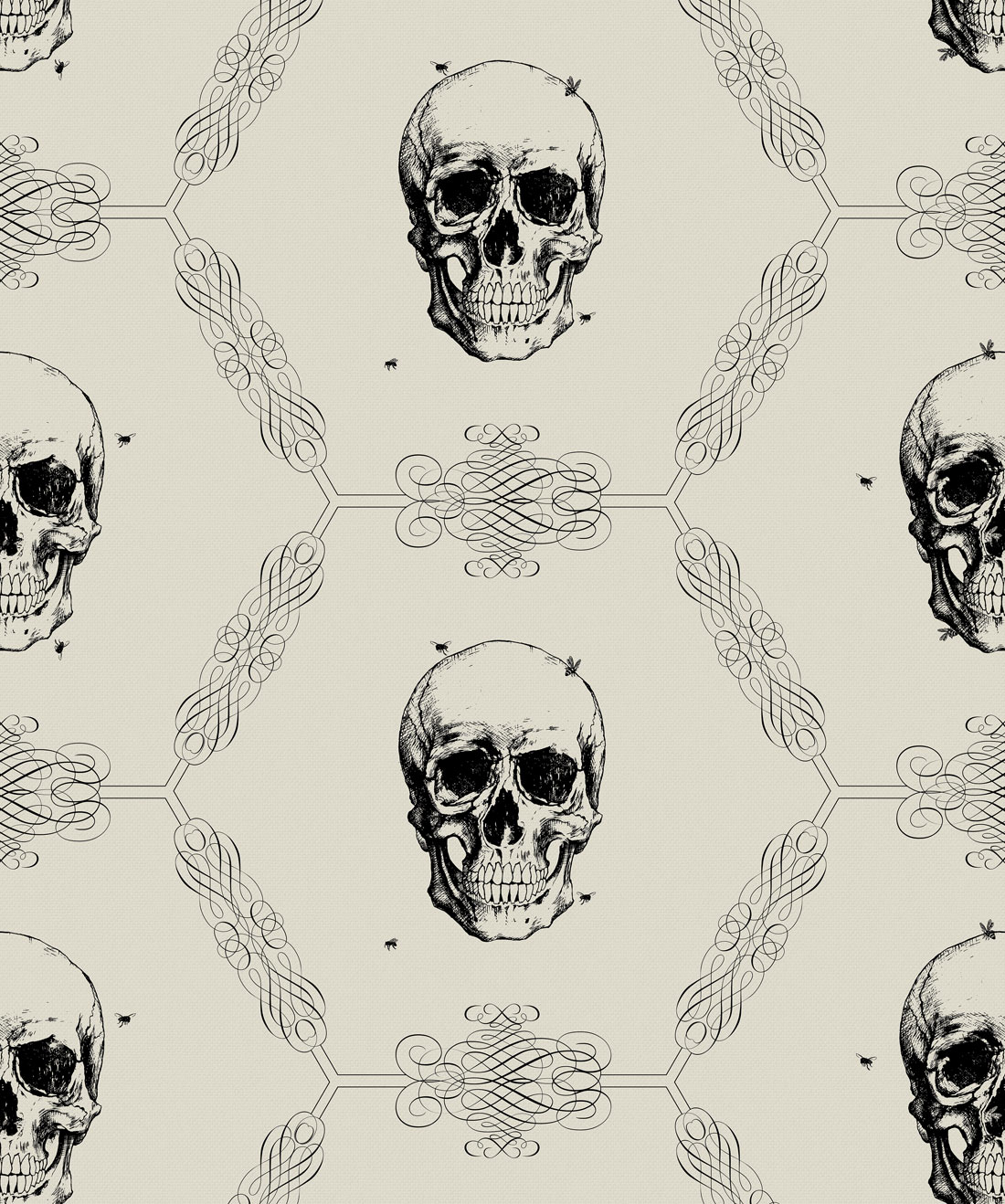 Skull and Bee Wallpaper