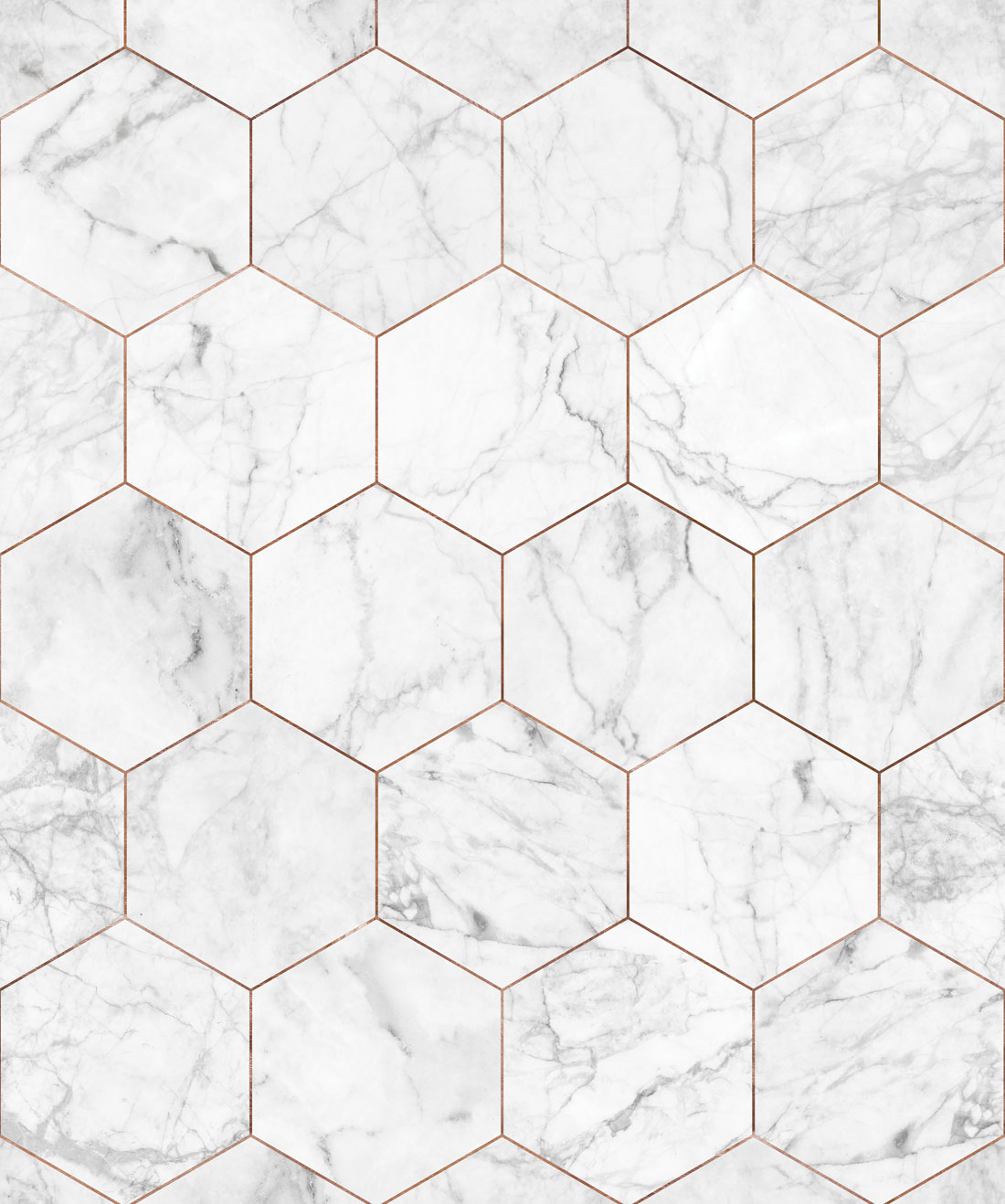 Marble & Copper Tiles Wallpaper