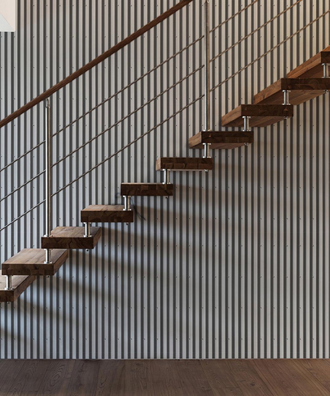 Corrugated Iron • Metal Wallpaper • Industrial Wallpaper