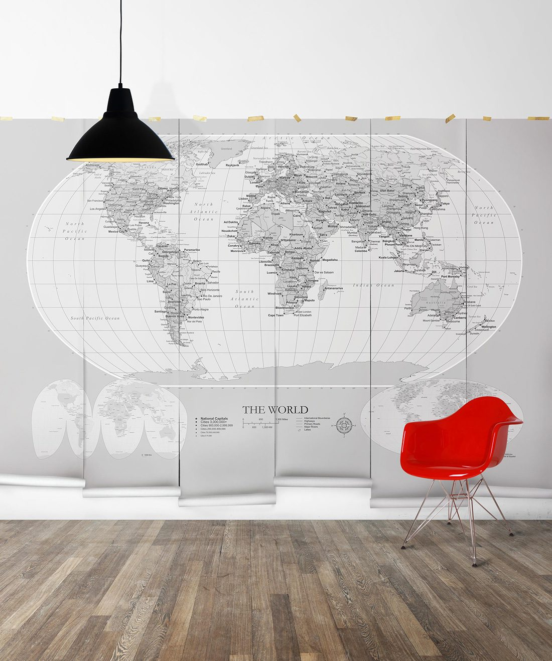World Map Mural Grey