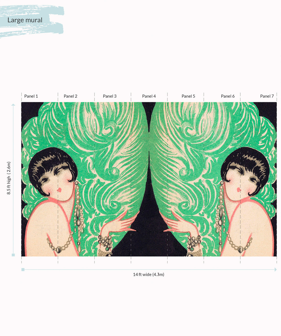 Mirrored Burlesque Wall Mural - Large
