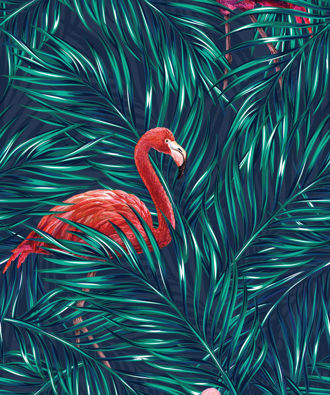 Tropical Flamingos Wallpaper