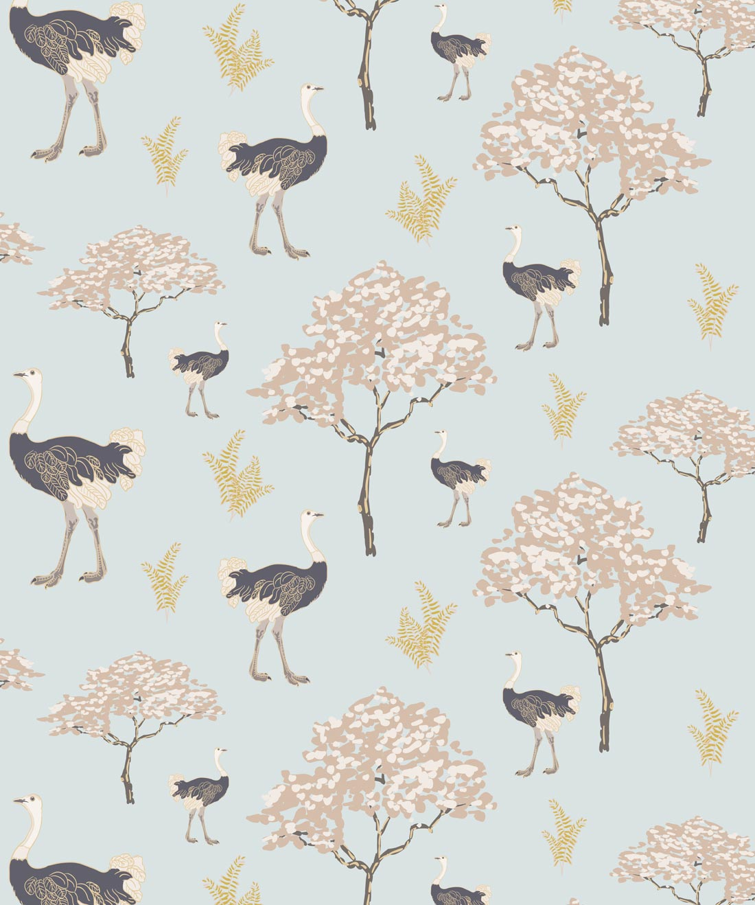 Savannah Ostrich Wallpaper