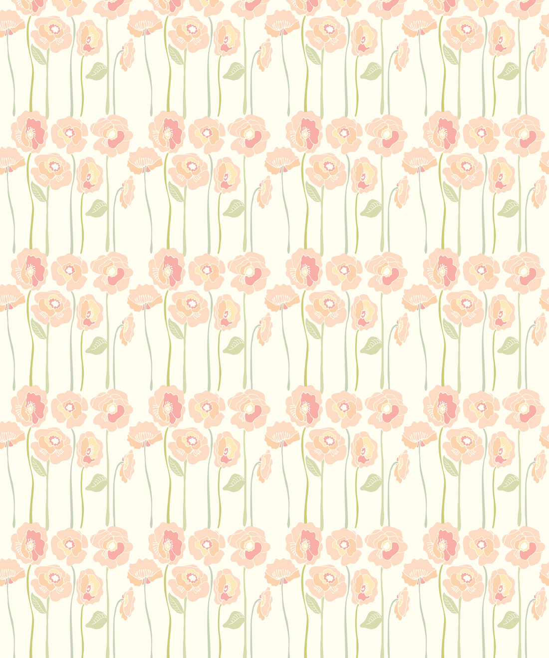 Long Stem Posies Wallpaper