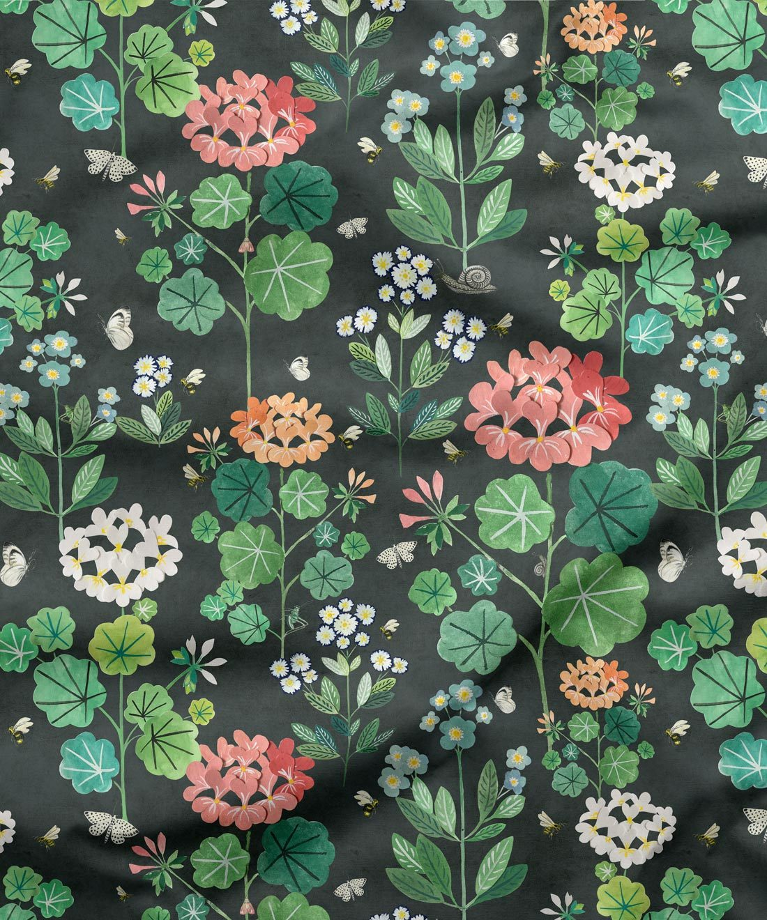 Sophies Garden Charcoal Fabric