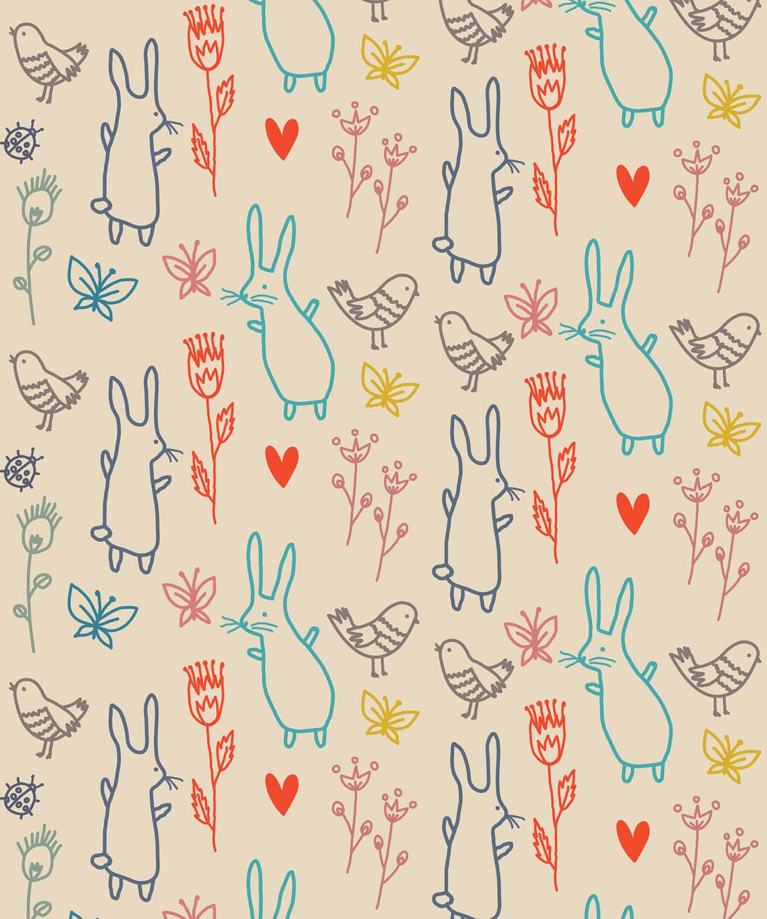 Summer Rabbits Wallpaper