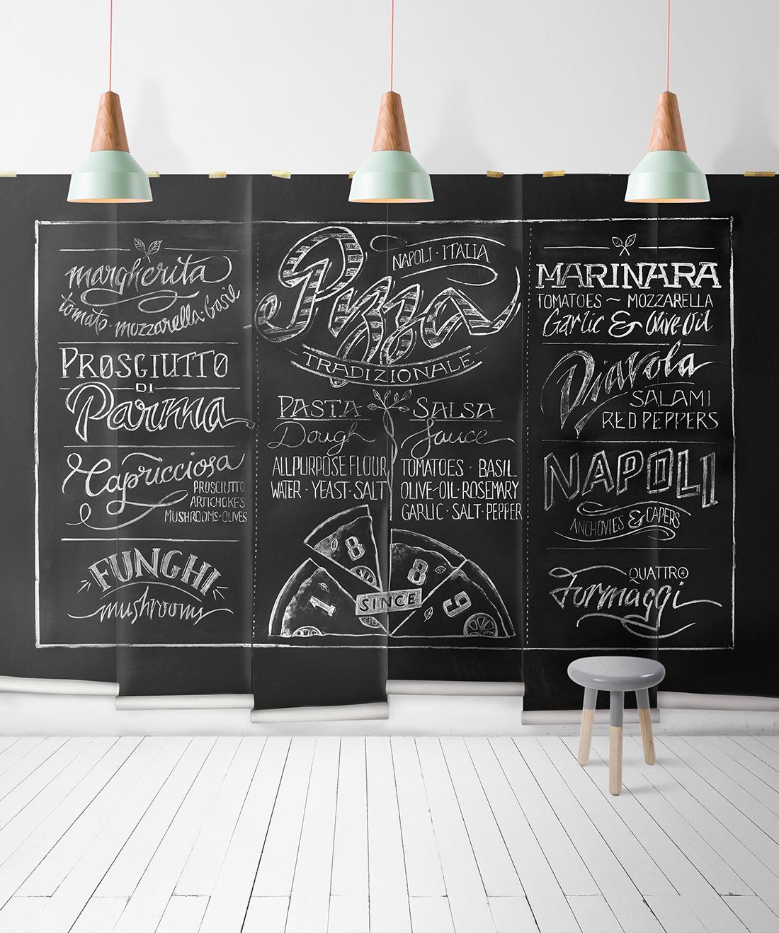 Chalkboard Pizza Mural