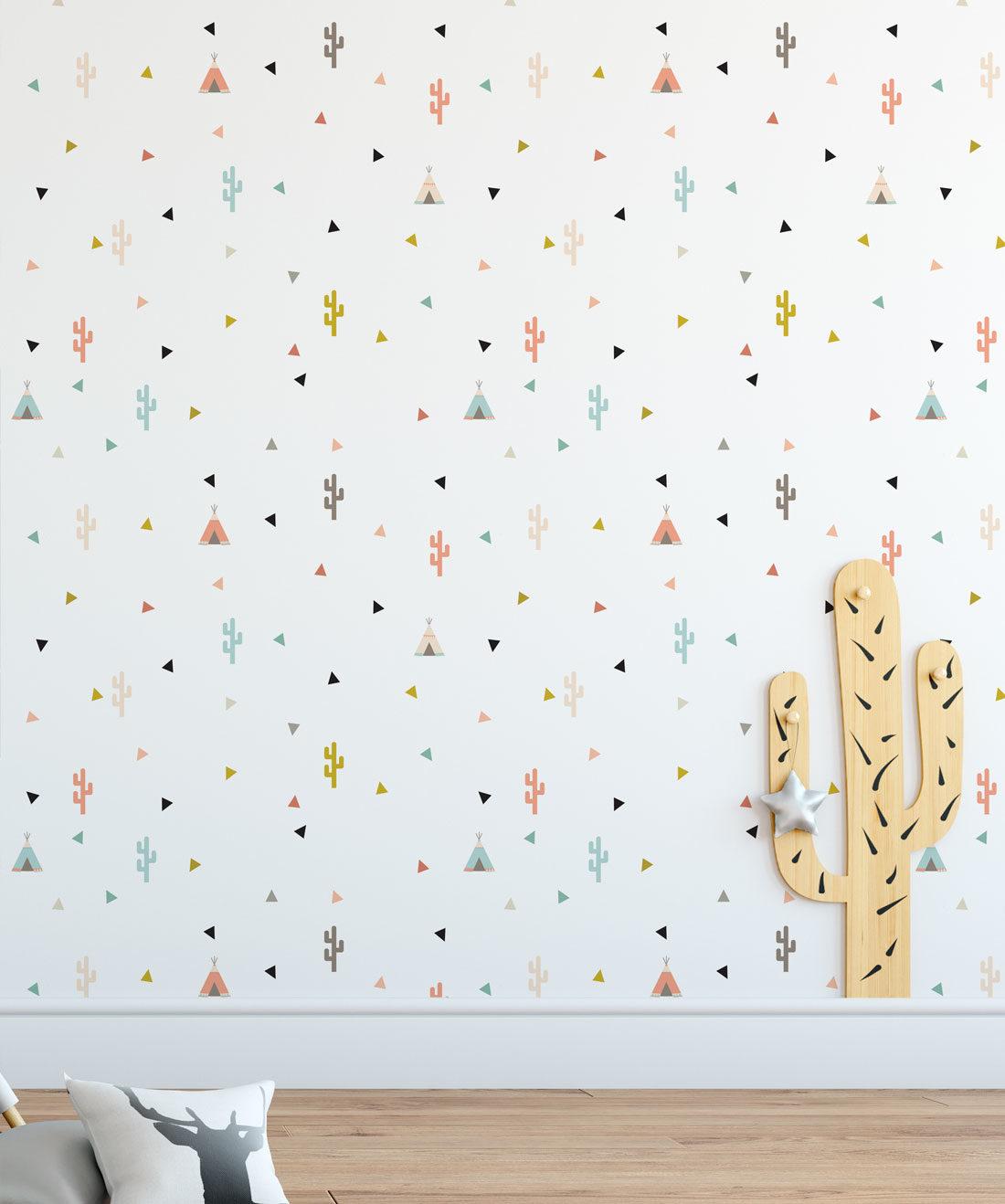 Teepee & Cactus Kids Wallpaper