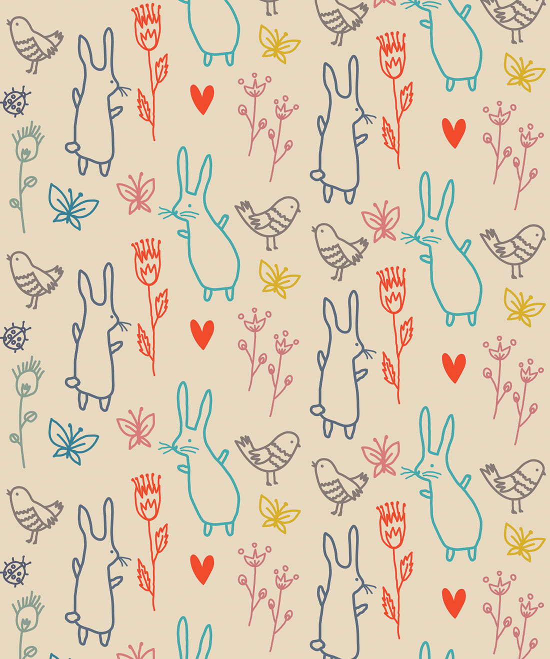 Summer Rabbits Wallpaper