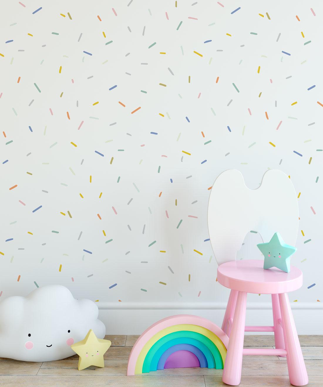 White Confetti Wallpaper Installation