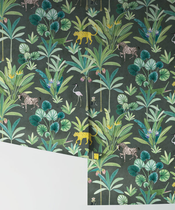 Jungle Wallpaper, Animal Kingdom Black by Bethany Linz