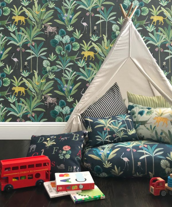 Jungle Wallpaper, Animal Kingdom Black by Bethany Linz