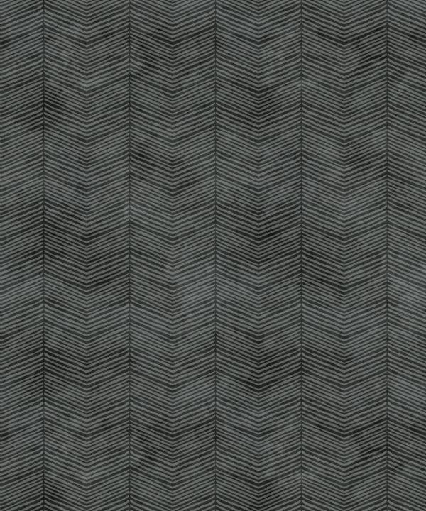 Black Herringbone Wallpaper