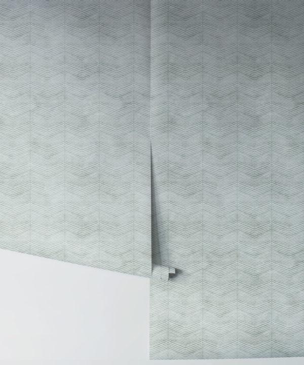 Green Herringbone Wallpaper